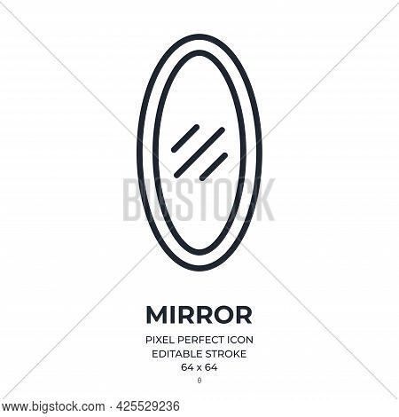 Mirror Editable Stroke Outline Icon Isolated On White Background Flat Vector Illustration. Pixel Per