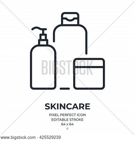 Skincare And Cosmetics Products Editable Stroke Outline Icon Isolated On White Background Flat Vecto