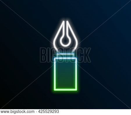 Glowing Neon Line Fountain Pen Nib Icon Isolated On Black Background. Pen Tool Sign. Colorful Outlin