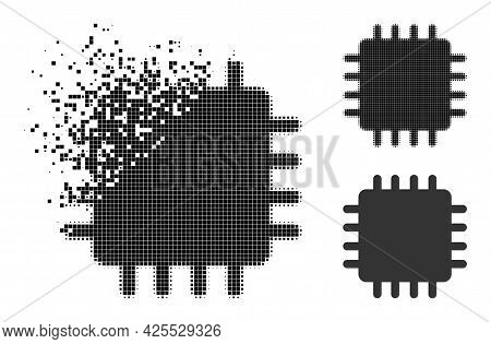 Fractured Pixelated Chip Icon With Halftone Version. Vector Wind Effect For Chip Icon. Pixelated Dis