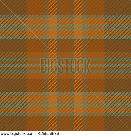 Woven Tartan Seamless Vector Pattern Background. Ochre And Sage Green Plaid Weave Grid Backdrop. Ble