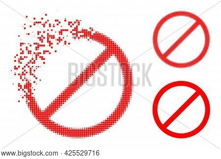Burst Dotted Cancel Glyph With Halftone Version. Vector Destruction Effect For Cancel Icon. Pixel Di