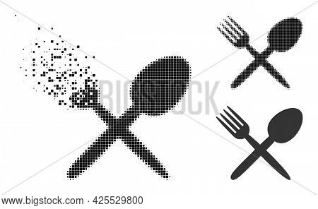 Dissolving Dot Fork And Spoon Pictogram With Halftone Version. Vector Wind Effect For Fork And Spoon