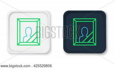 Line Mourning Photo Frame With Black Ribbon Icon Isolated On White Background. Funeral Ceremony And