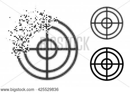 Fragmented Pixelated Target Glyph With Halftone Version. Vector Destruction Effect For Target Icon.