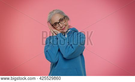 Elderly Granny Gray-haired Woman Yawning, Sleepy Inattentive Feeling Somnolent Lazy Bored Gaping Suf