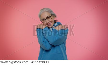 Come To Me, I Want To Embrace You. Mature Old Granny Grandmother Spread Hands And Give Hug To You. P