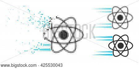 Destructed Pixelated Rush Atom Pictogram With Halftone Version. Vector Destruction Effect For Rush A