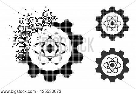 Erosion Pixelated Atomic Industry Icon With Halftone Version. Vector Destruction Effect For Atomic I