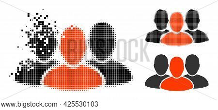 Dispersed Dotted User Group Pictogram With Halftone Version. Vector Destruction Effect For User Grou