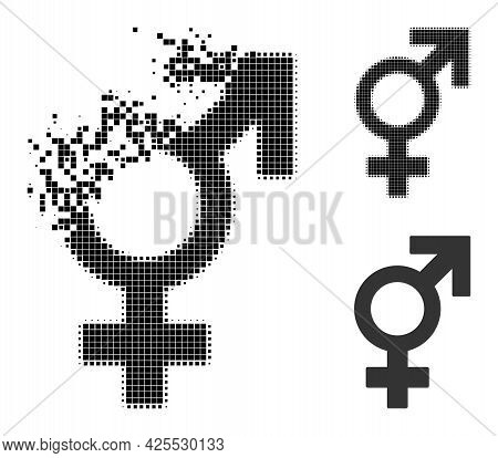 Burst Pixelated Sex Symbol Pictogram With Halftone Version. Vector Wind Effect For Sex Symbol Icon.