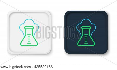 Line Chemical Experiment, Explosion In The Flask Icon Isolated On White Background. Chemical Explosi