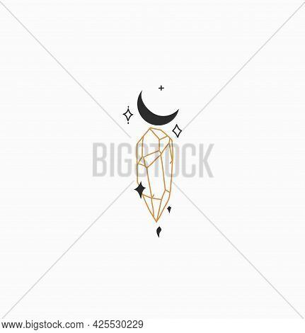 Hand Drawn Vector Abstract Stock Flat Graphic Illustration With Minimal Logo Element, Bohemian Magic