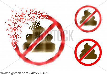 Moving Pixelated Forbidden Shit Pictogram With Halftone Version. Vector Wind Effect For Forbidden Sh