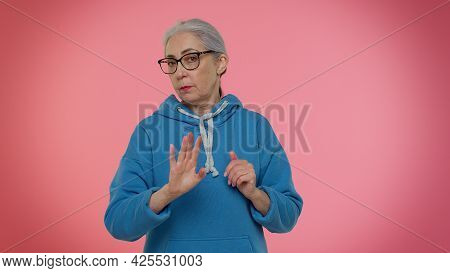 I Am Dont Want It, Not Me. Confused Elderly Good-looking Granny Woman Pointing Fingers Herself Ask S