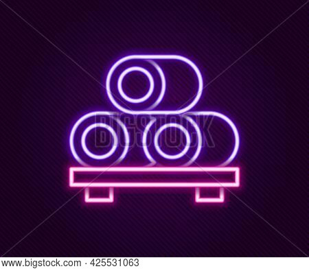 Glowing Neon Line Sushi On Cutting Board Icon Isolated On Black Background. Asian Food Sushi On Wood