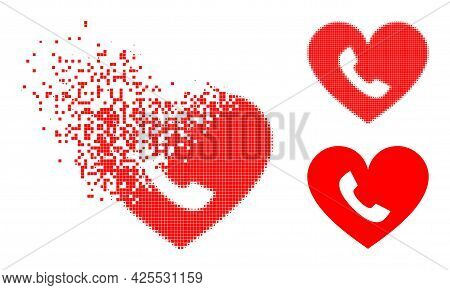 Dispersed Pixelated Phone Heart Icon With Halftone Version. Vector Destruction Effect For Phone Hear