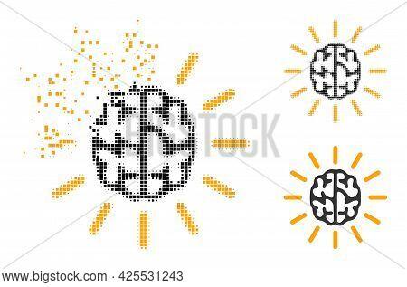 Shredded Pixelated Mind Light Glyph With Halftone Version. Vector Destruction Effect For Mind Light
