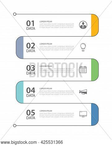 5 Data Infographics Tab Thin Line Index Template. Vector Illustration Abstract Background. Can Be Us
