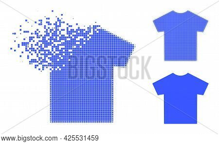 Decomposed Pixelated Male T-shirt Icon With Halftone Version. Vector Destruction Effect For Male T-s
