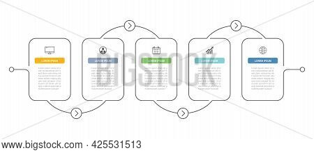 7 Data Infographics Timeline Tab Thin Line Index Template. Vector Illustration Abstract Background.