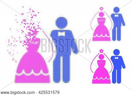 Dissolving Pixelated Newlyweds Icon With Halftone Version. Vector Destruction Effect For Newlyweds I