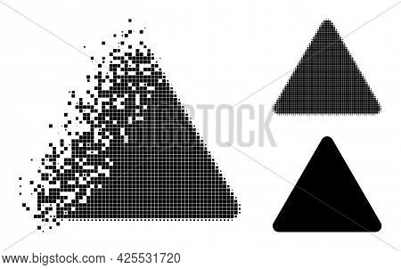 Dissipated Pixelated Rounded Triangle Glyph With Halftone Version. Vector Destruction Effect For Rou