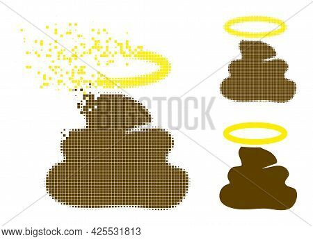 Dust Dotted Holy Shit Pictogram With Halftone Version. Vector Wind Effect For Holy Shit Pictogram. P
