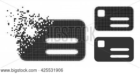Disintegrating Pixelated Banking Card Icon With Halftone Version. Vector Wind Effect For Banking Car