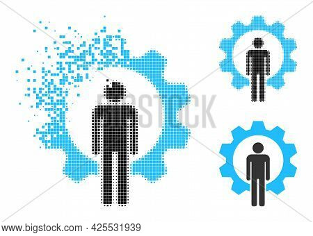 Decomposed Pixelated Human Resources Icon With Halftone Version. Vector Wind Effect For Human Resour
