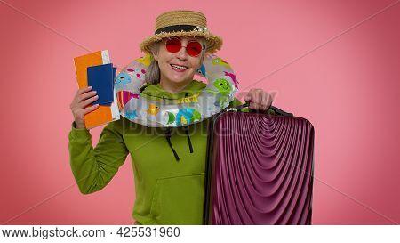 Traveler Tourist Senior Old Woman Granny Celebrating, Holding Passport, Tickets, Luggage. Concept Su