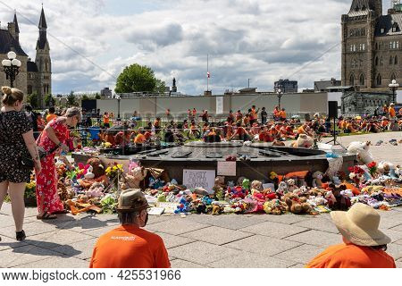 Cancel Canada Day Protest In Ottawa Canada In 2021 On Parliament Hill In Downtown. Shoes And Toys Le