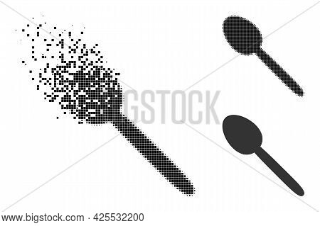 Damaged Dotted Spoon Icon With Halftone Version. Vector Wind Effect For Spoon Icon. Pixelated Dissol