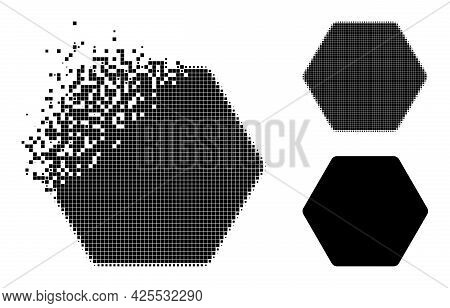 Shredded Dotted Rounded Hexagon Icon With Halftone Version. Vector Destruction Effect For Rounded He