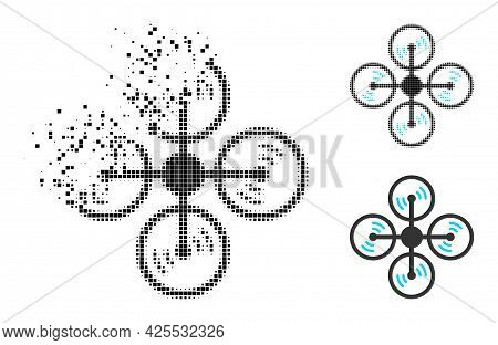 Damaged Pixelated Air Copter Pictogram With Halftone Version. Vector Wind Effect For Air Copter Pict