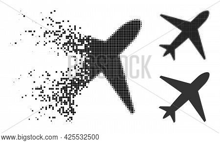 Fragmented Dotted Airplane Pictogram With Halftone Version. Vector Destruction Effect For Airplane P