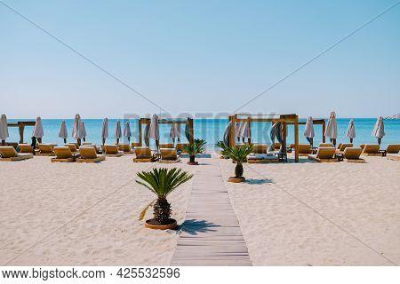 Paralia Platis Gialos Beach Mykonos, Petinos Beach Mikonos Island Greece, Luxury Beach Bed Chairs, A