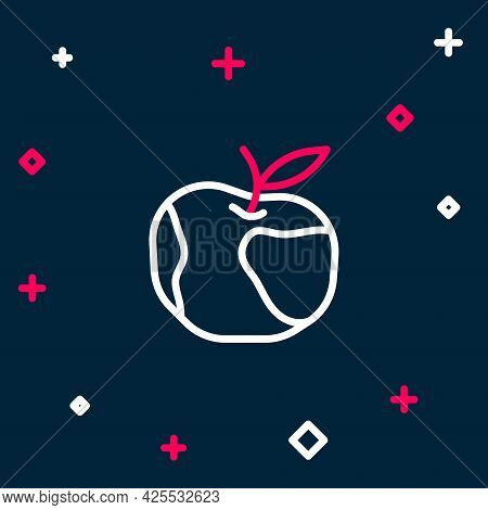 Line Apple Icon Isolated On Blue Background. Excess Weight. Healthy Diet Menu. Fitness Diet Apple. C