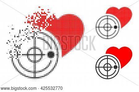 Broken Pixelated Love Heart Radar Glyph With Halftone Version. Vector Destruction Effect For Love He