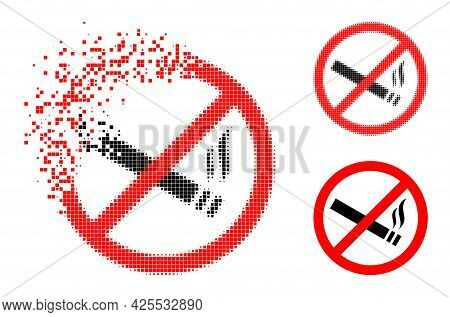 Damaged Pixelated Smoking Forbidden Pictogram With Halftone Version. Vector Wind Effect For Smoking