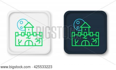 Line Castle Icon Isolated On White Background. Medieval Fortress With A Tower. Protection From Enemi