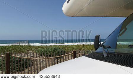 Motorhome Trailer, Caravan For Road Trip. Waterfront Encinitas, Waves Of Pacific Ocean Sea Beach, Ca