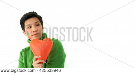 Young Asian Tomboy Looking For Love And Partnership Positive Emotion For Valentine's Asmosphere