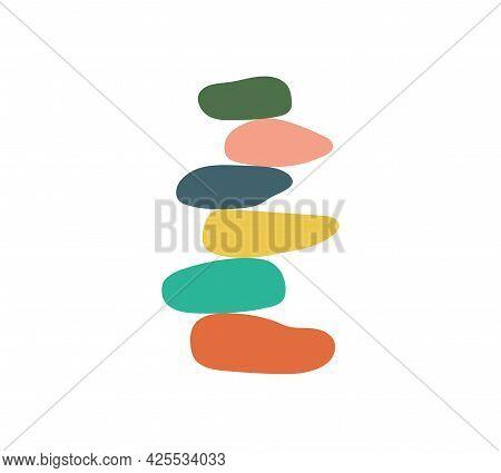 Balance Of Stone. Harmony Of Pebble. Logo Of Stack Equilibrium Of Stones For Zen, Meditation And Yog