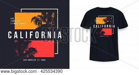 California, Los Angeles T-shirt Design. T Shirt Print Design With Palm Tree. T-shirt Design With Typ