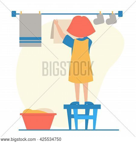 Kid Hanging Washed Laundry Isolated. Daily Routine
