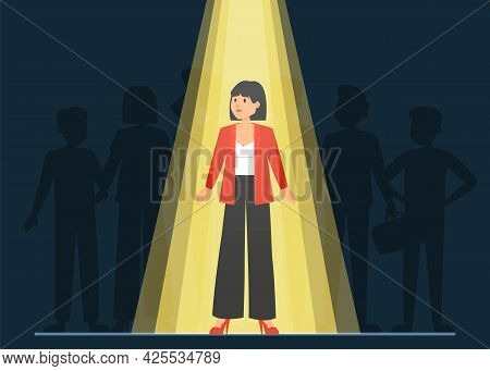 Light Shining On The Right Candidate For A Job, Recruitment Concept. Select Worker For Your Team. Cr