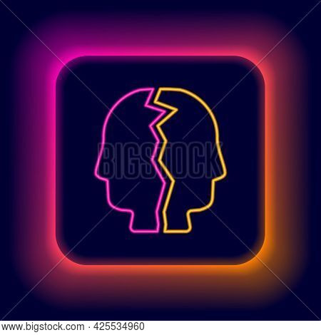 Glowing Neon Line Bipolar Disorder Icon Isolated On Black Background. Colorful Outline Concept. Vect