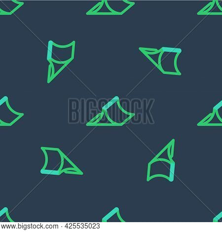 Line Skate Park Icon Isolated Seamless Pattern On Blue Background. Set Of Ramp, Roller, Stairs For A