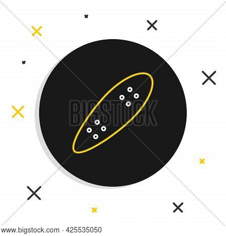Line Longboard Or Skateboard Cruiser Icon Isolated On White Background. Extreme Sport. Sport Equipme